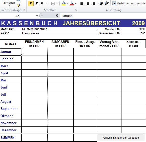 Excel Kassenbuch Mit Flexiblen Auswertungsmoglichkeiten