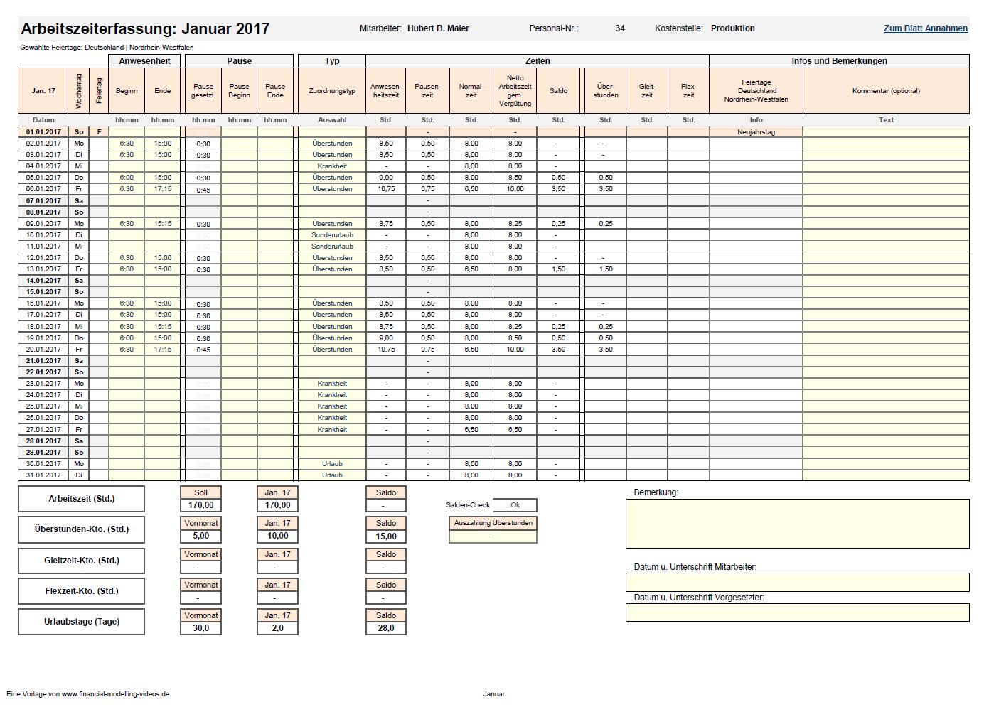 Excel Vorlage Fur Die Arbeitszeiterfassung
