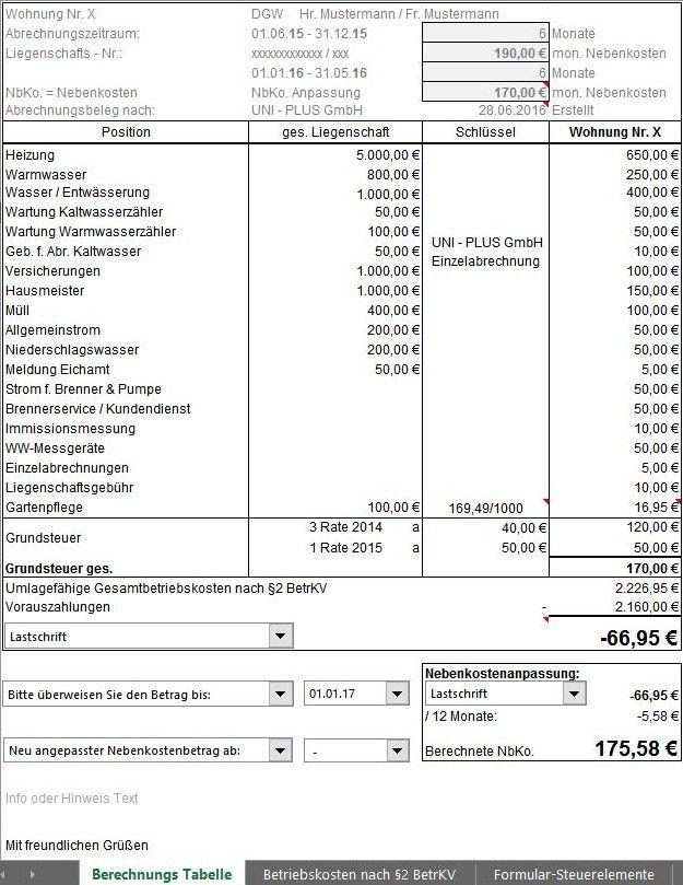 Excel Vorlage Tool Fur Nebenkostenabrechnung Einer Immobilie