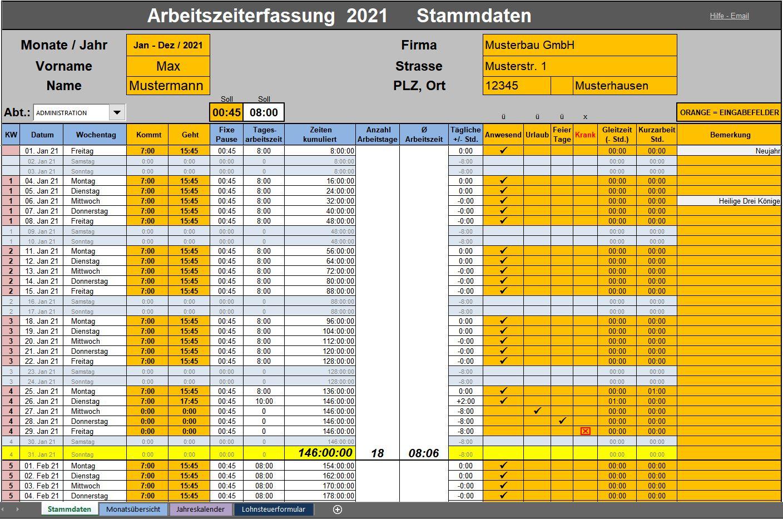 Arbeitszeit Ganz Einfach Mit Excel Vorlagen