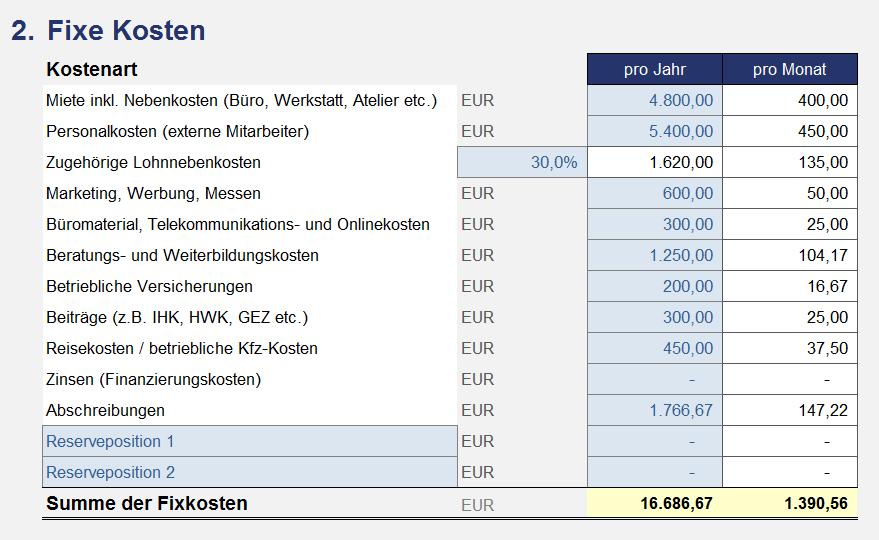 Kalkulation Mit Excel Beispiele Zum Download 13