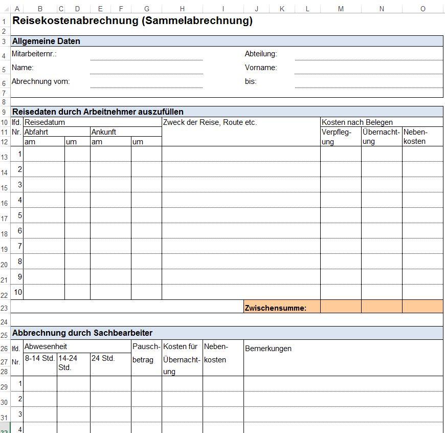 Reisekostenabrechnung Vorlage Download Excel Und Pdf