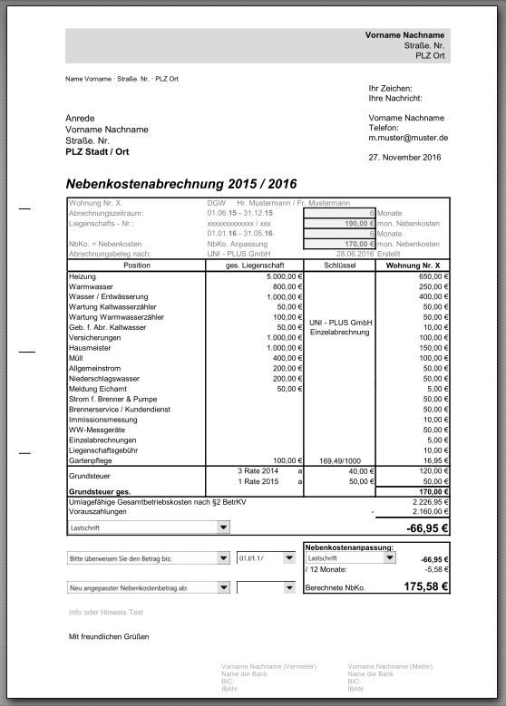 Nebenkostenabrechnung Vorlage Excel Hier Herunterladen 6